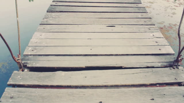 walk on a bridge - wood texture stock videos and b-roll footage