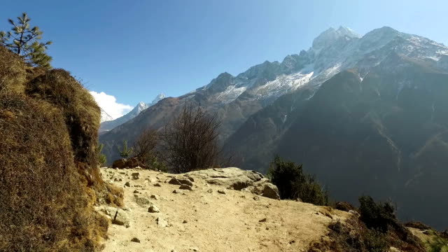 pov walk on the everest base camp trail in nepal - khumbu stock videos and b-roll footage