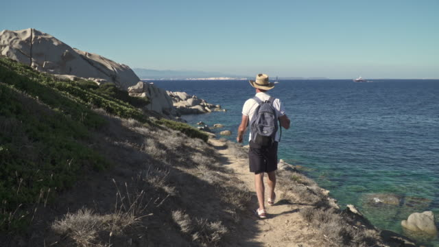 walk on the path of Capo Testa. Sardinia, Olbia-Tempio. Santa Teresa di Gallura, peninsula eroded by winds