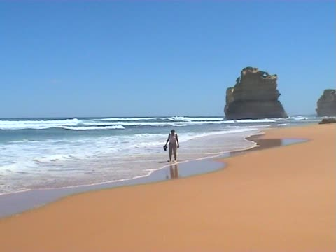 walk on the sandy beach - great ocean road stock videos & royalty-free footage