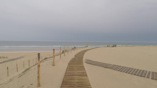 walk on wooden board on the beach - cap ferret stock videos & royalty-free footage