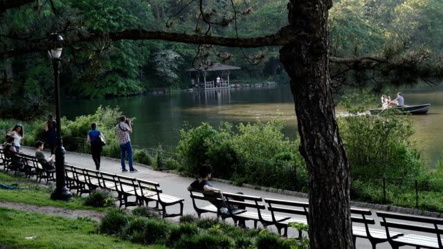 Walk path along the Central Park Lake, New York City