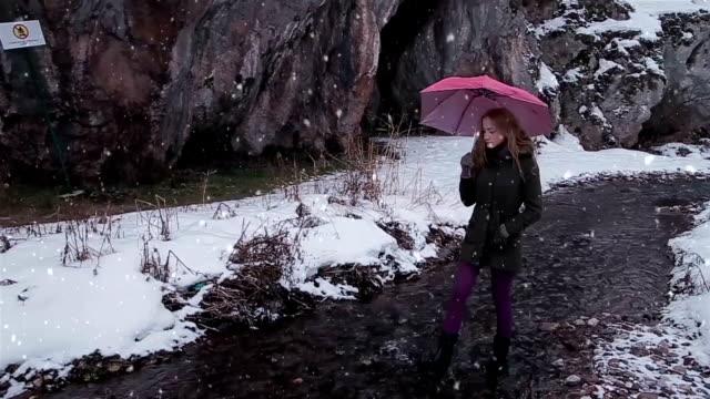 Maak een wandeling door de ondiepe Beek, winters tafereel