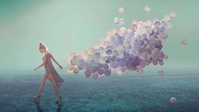 walk with lightness - surrealism stock videos & royalty-free footage