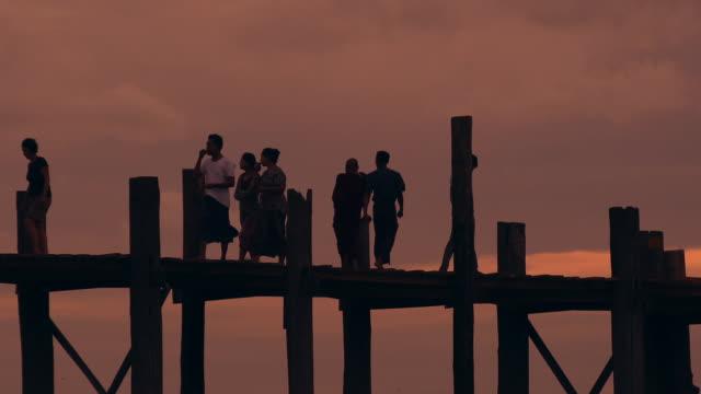W/S walkers (monk) in U Bein bridge, Myanmar