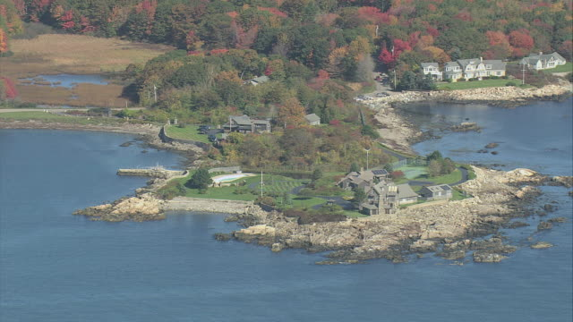 aerial walkers point and the bush compound / kennebunkport, maine, united states - built structure stock videos & royalty-free footage