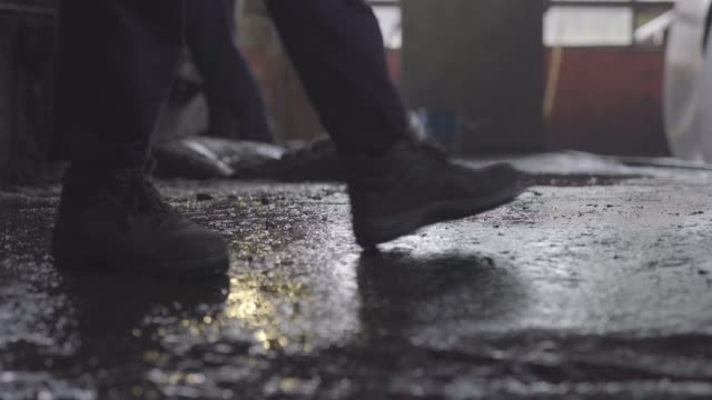walking alone on the dirty concrete floor - slippery stock videos & royalty-free footage