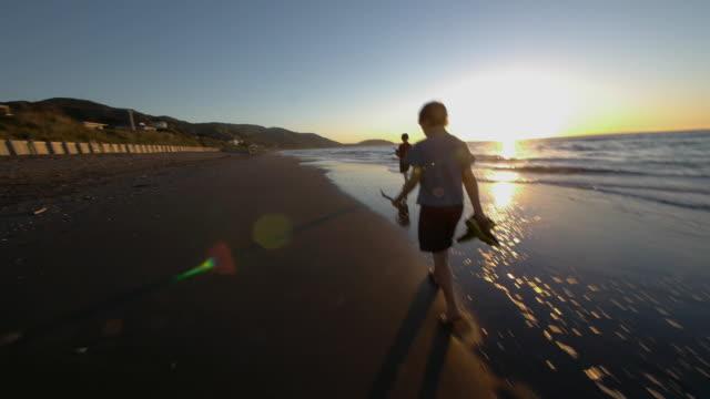 POV walking along beach