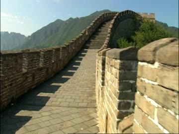pov walking along great wall of china, mutianyu, china - mutianyu stock videos & royalty-free footage