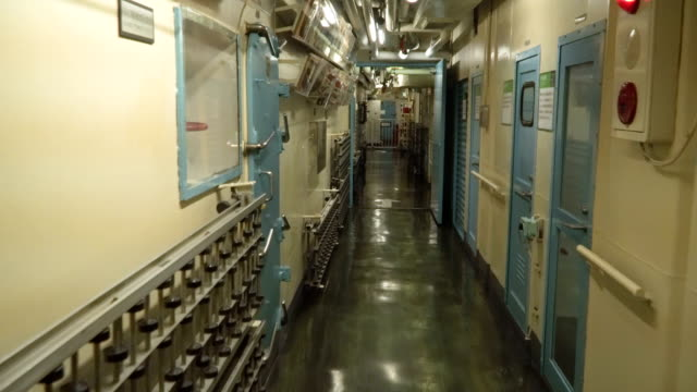 walking along the long way in old-fashioned ice breaker interior - vehicle interior stock videos & royalty-free footage