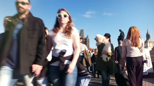 walking among tourists on charles bridge in prague - charles bridge stock videos & royalty-free footage