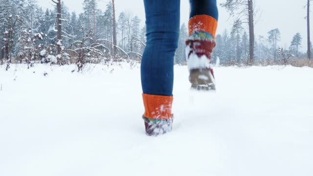Walking and running on snow in forest