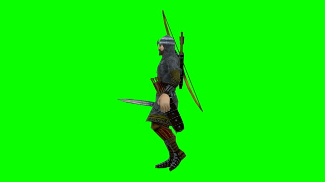 walking archer green screen (loopable) - knight person stock videos & royalty-free footage