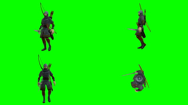 walking archer green screen (loopable) - longbow stock videos and b-roll footage