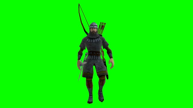 walking archer green screen (loopable) - bow and arrow stock videos and b-roll footage