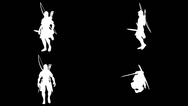 walking archer silhouette (loopable) - longbow stock videos and b-roll footage