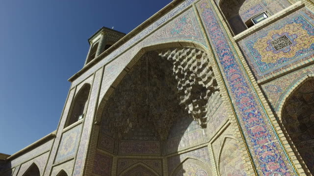 walking around nasir al-mulk mosque‌ (pink mosque) - iran stock videos and b-roll footage