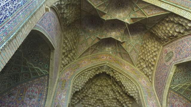 walking around nasir al-mulk mosque (pink mosque) - ceiling stock videos & royalty-free footage