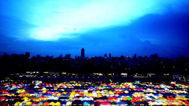 Walking at Night market in bangkok Thailand