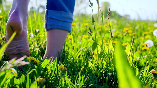 HD SUPER SLOW-MO: Walking Barefoot In The Meadow