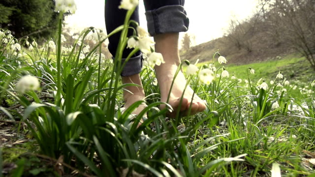 stockvideo's en b-roll-footage met hd super slow-mo: walking barefoot through spring snowflakes - blootvoets