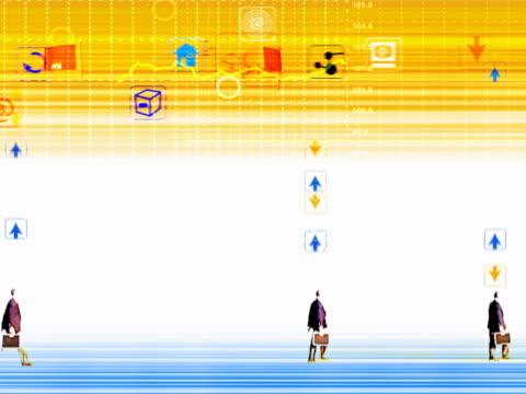 vídeos y material grabado en eventos de stock de walking businessmen superimposed over chart - diagrama de línea