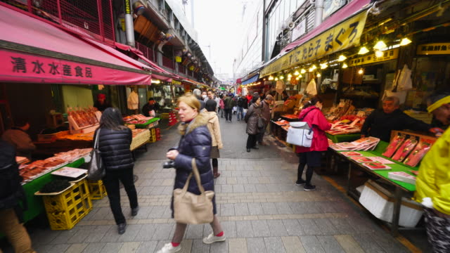 Walking camera captures wide variety shops along the both side of Ameyoko Shopping Street, which are Seafood, Vegetable, Meet, Clothe and more. 'NO AUDIO'