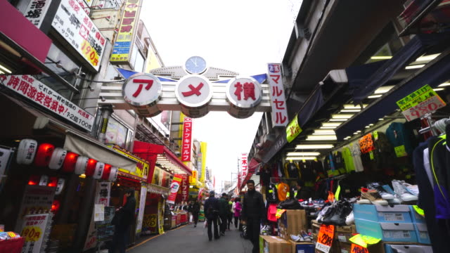 walking camera captures wide variety shops along the both side of ameyoko welcome mall, which are clothing, personal ornaments, shoes, cosmetics, bag, healthy goods, and more at in ueno, taito-ku tokyo. - stehen stock-videos und b-roll-filmmaterial