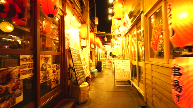 walking camera goes through from yurakucho side to shinbashi side, which captures many izakaya and nomiya (restarant bar) along the both side of bunka-yokocho alley in yurakucho sanchoku inshokugai, tokyo. - gasse stock-videos und b-roll-filmmaterial