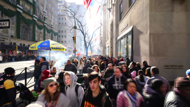 walking camera goes through the 5th avenue and captures the scenes of midtown manhattan 5th avenue in winter holidays 2016. - beengt stock-videos und b-roll-filmmaterial