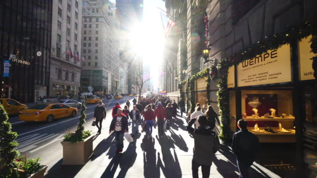 walking camera goes through the 5th avenue and captures the scenes of midtown manhattan 5th avenue in winter holidays 2016. - fifth avenue stock videos & royalty-free footage