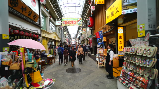 Walking camera is going through the Shin-Nakamise Shopping Street, which crosses the Nakamise-dori. Camera captures many shops and restaurants along the both side of Shopping Arcade Street.