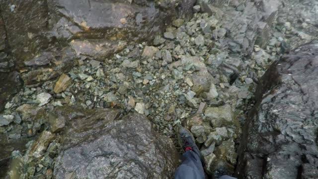 Walking down a rocky mountain, scree slope in Scotland