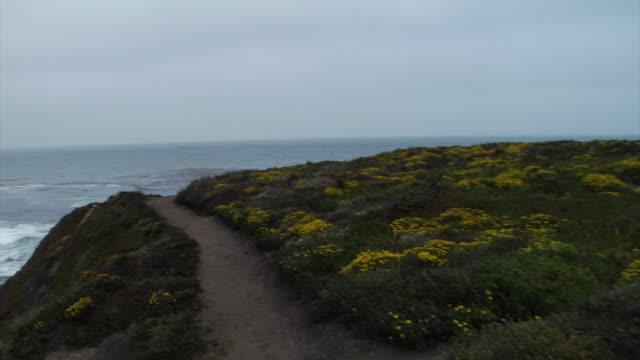 Walking down coastline of Big Sur California