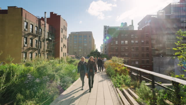walking down the high line park - chelsea new york stock videos & royalty-free footage