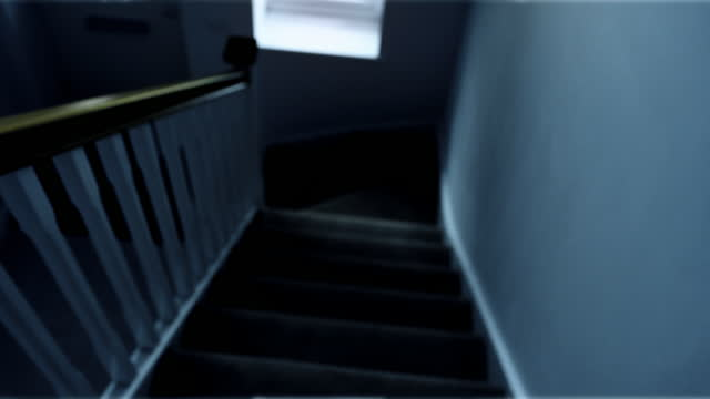 walking downstairs in darkness. pov -personal perspective view. - moving down stock videos & royalty-free footage