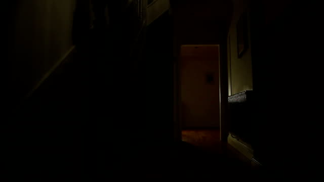 walking downstairs in darkness. - staircase stock videos & royalty-free footage