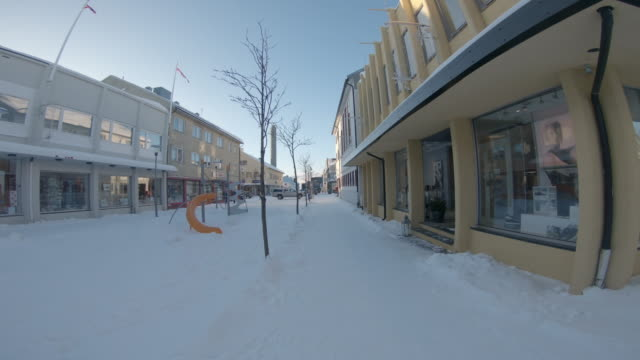 pov walking in a small town kirkenes - residential district stock videos & royalty-free footage
