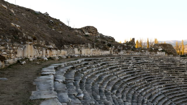 walking in amphitheatre  of aphrodisias antique city - mythology stock videos & royalty-free footage
