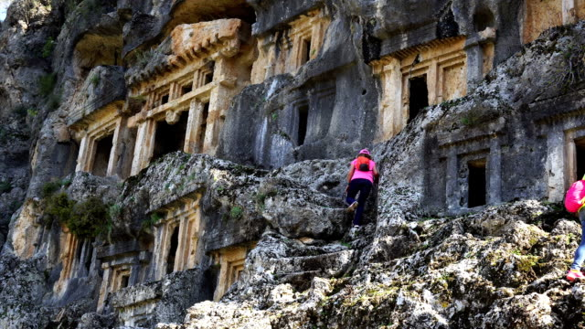 walking in the ancient city of pinara. pinara, fethiye, turkey. - antiquities stock videos and b-roll footage