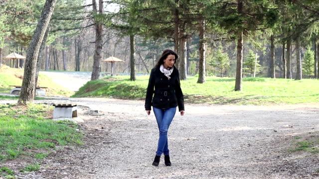 hd: walking in the park - treelined stock videos & royalty-free footage