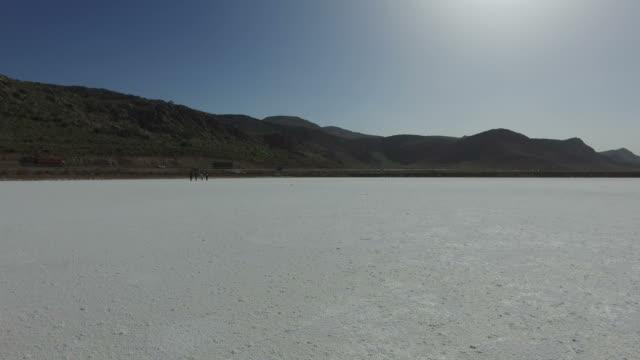 Walking in the salt lake