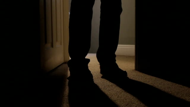 walking into a room at night, shadows. - abuse stock videos and b-roll footage