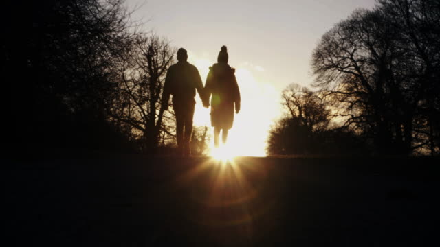 walking into the winter sunset. couple holding hands. - back lit stock videos & royalty-free footage
