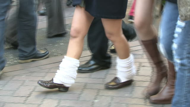 walking legs of young women, tokyo, japan - sock stock videos & royalty-free footage