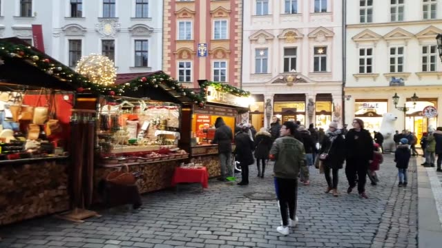 walking on a christmas market in prague, czech republic - czech republic stock videos & royalty-free footage