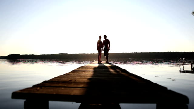 walking on a pier - hot passionate kissing stock videos & royalty-free footage