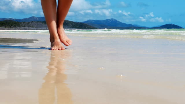 walking on an idillic beach feet. - scalzo video stock e b–roll