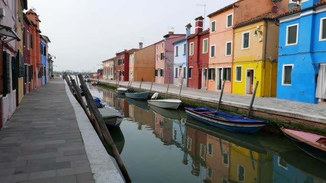 POV  walking on Burano island, Venice, Italy, city of romance, typical venetian sights, part of series, travel destinations