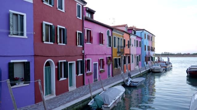pov  walking on burano island, venice, italy. city of romance with typical venetian sights. - mediterranean culture stock videos & royalty-free footage